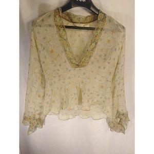 J. Jill silk sheer floral angel sleeves blouse